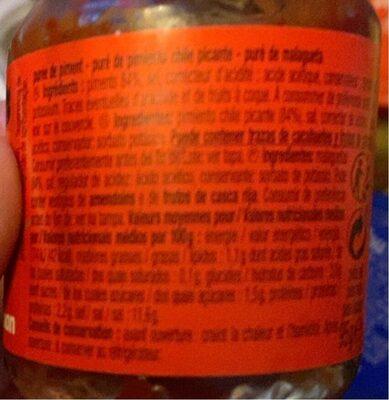 Puree piment - Informação nutricional - fr