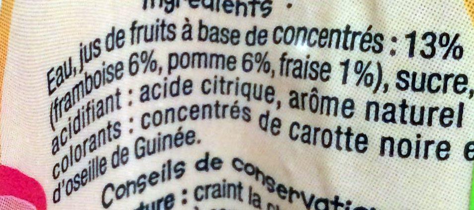 Boisson aux jus de fruits Fruits Rouges - Ingrediënten