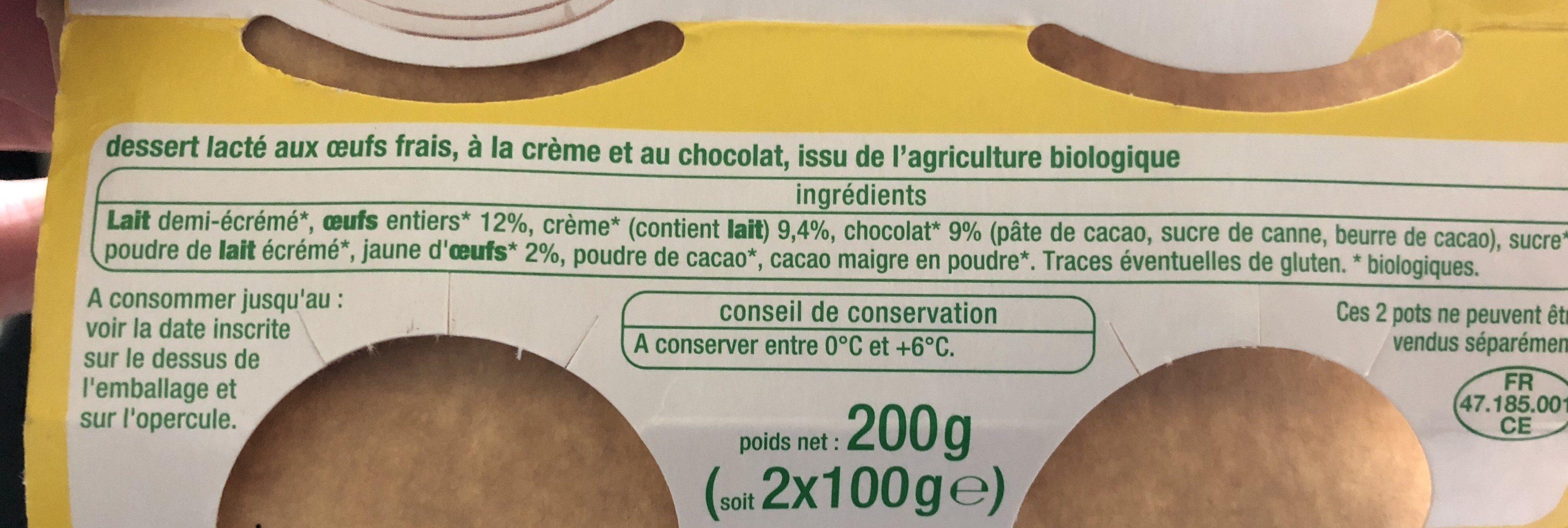 Petits pots de crème chocolat - Ingrédients - fr