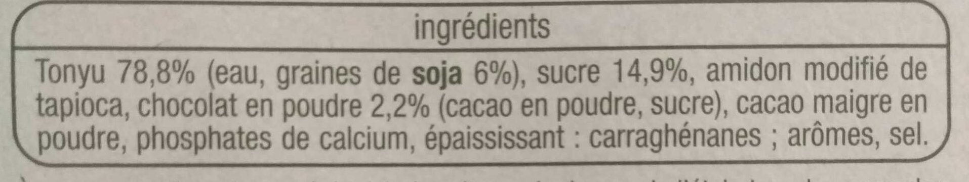 Yaourt au soja chocolat noisette - Ingrédients