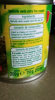 Haricots verts coupés - Ingrediënten