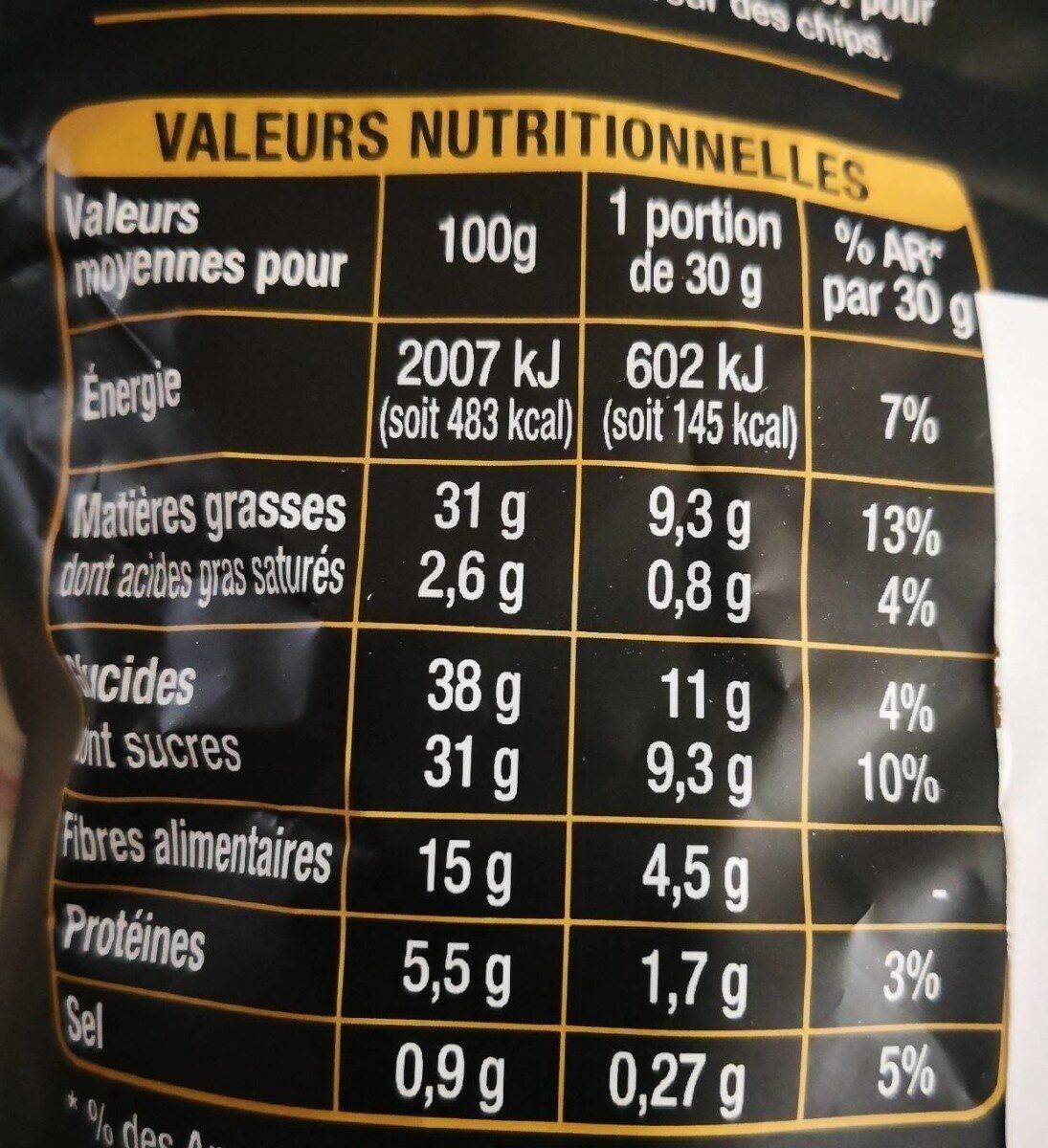 Chips de Légumes betteraves, carottes, patates douces , panais - Valori nutrizionali - fr