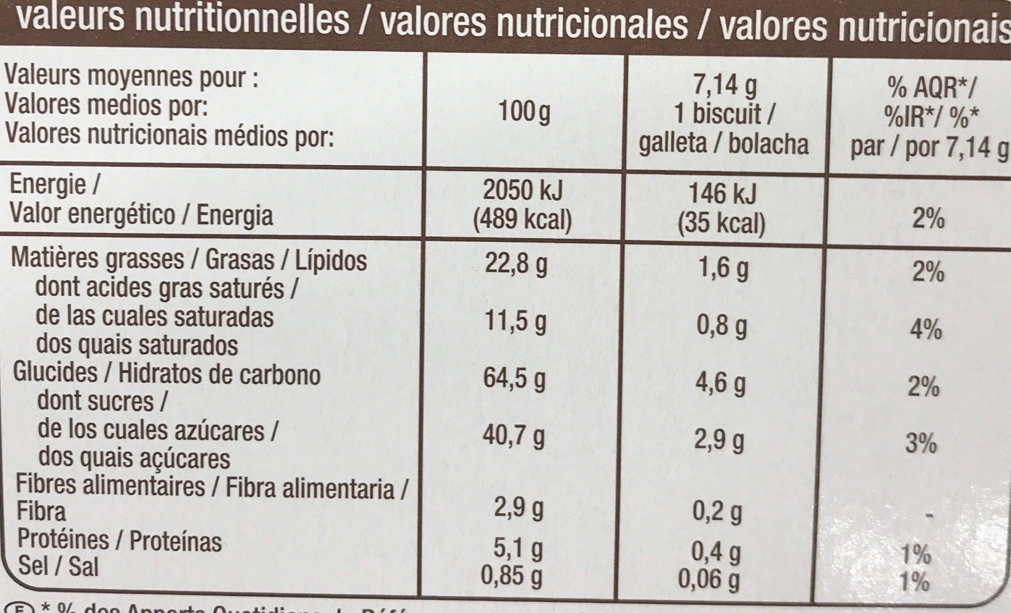 Galettes suedoises aux flocons d'avoine - Información nutricional - fr