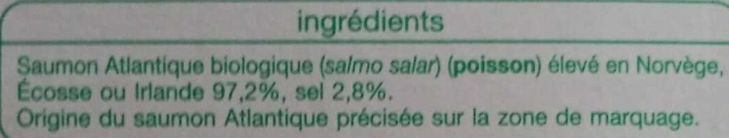 Émincés de Saumon Fumé Bio - Ingredients