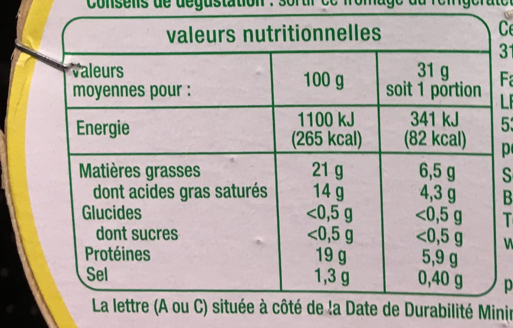 Camenbert Bio - Informations nutritionnelles