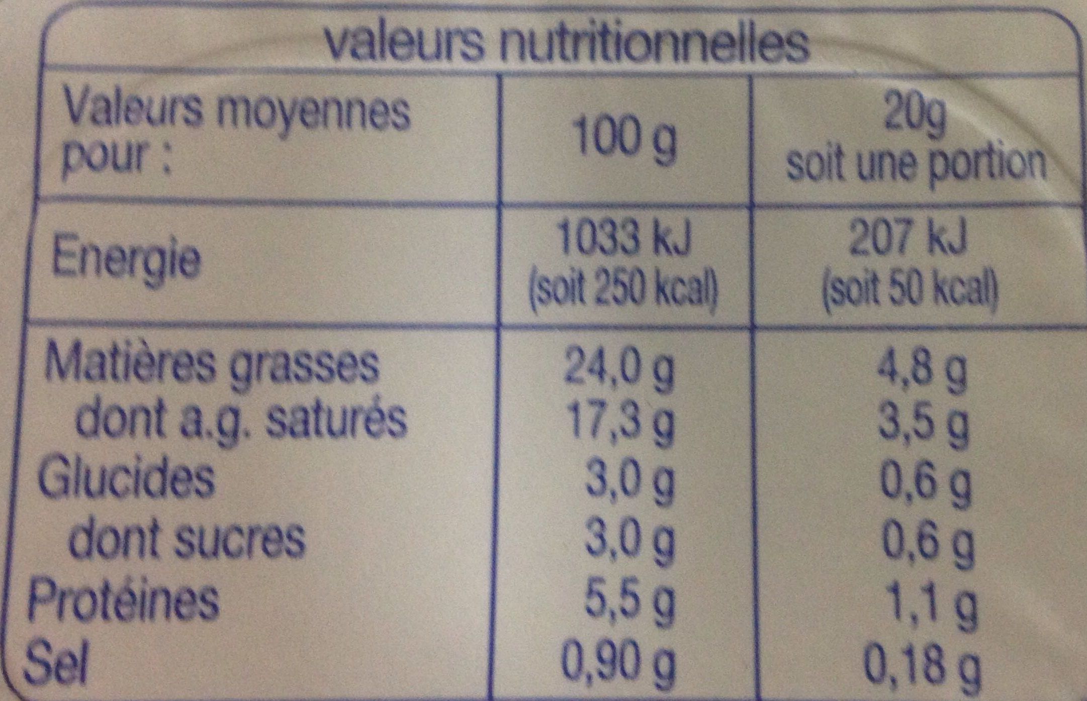 Fromage à Tartiner Nature - Informations nutritionnelles - fr
