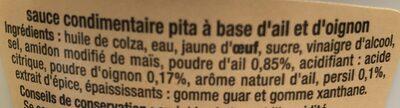 Sauce Pita - Ingrédients