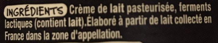 Creme fraîche d'Isigny - Ingrédients