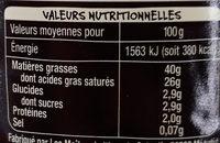 Creme fraîche d'Isigny - Informations nutritionnelles