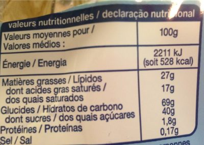 Gaufrettes vanille sans gluten - Voedigswaarden