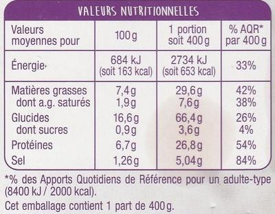 Paëlla Poulet et Fruits de Mer - Nutrition facts - fr