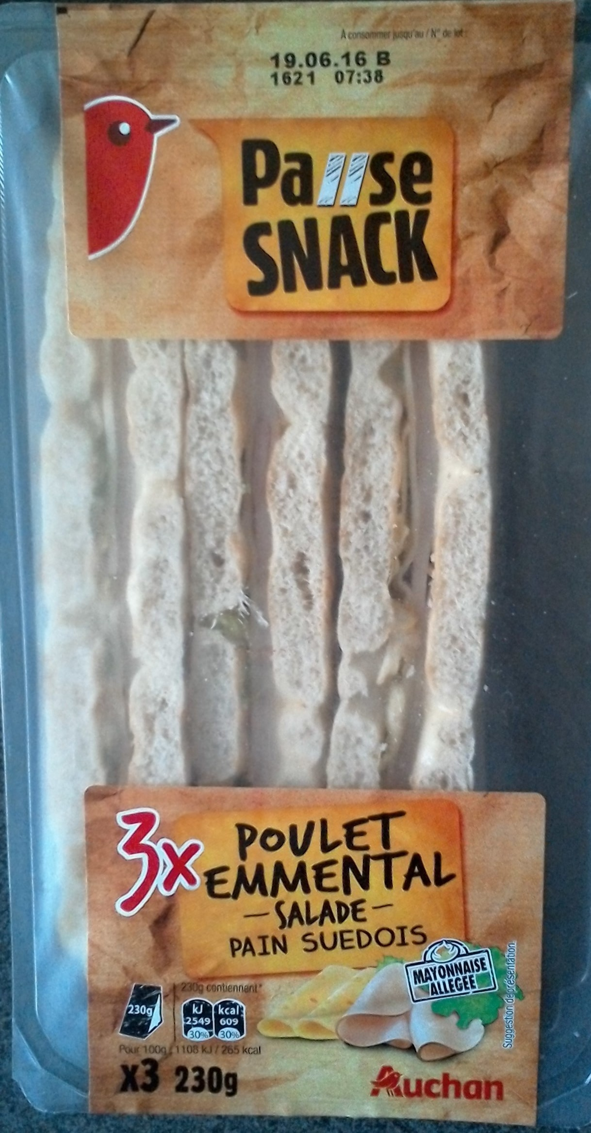 Pause snack 3x Poulets emmental - salade - pain suédois - Product