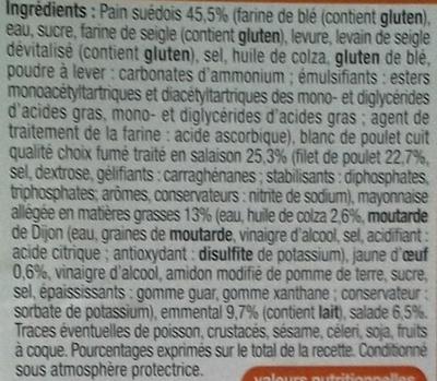 Pause snack 3x Poulets emmental - salade - pain suédois - Ingredients