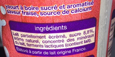 Yaourt a boire saveur fraise - Ingredients