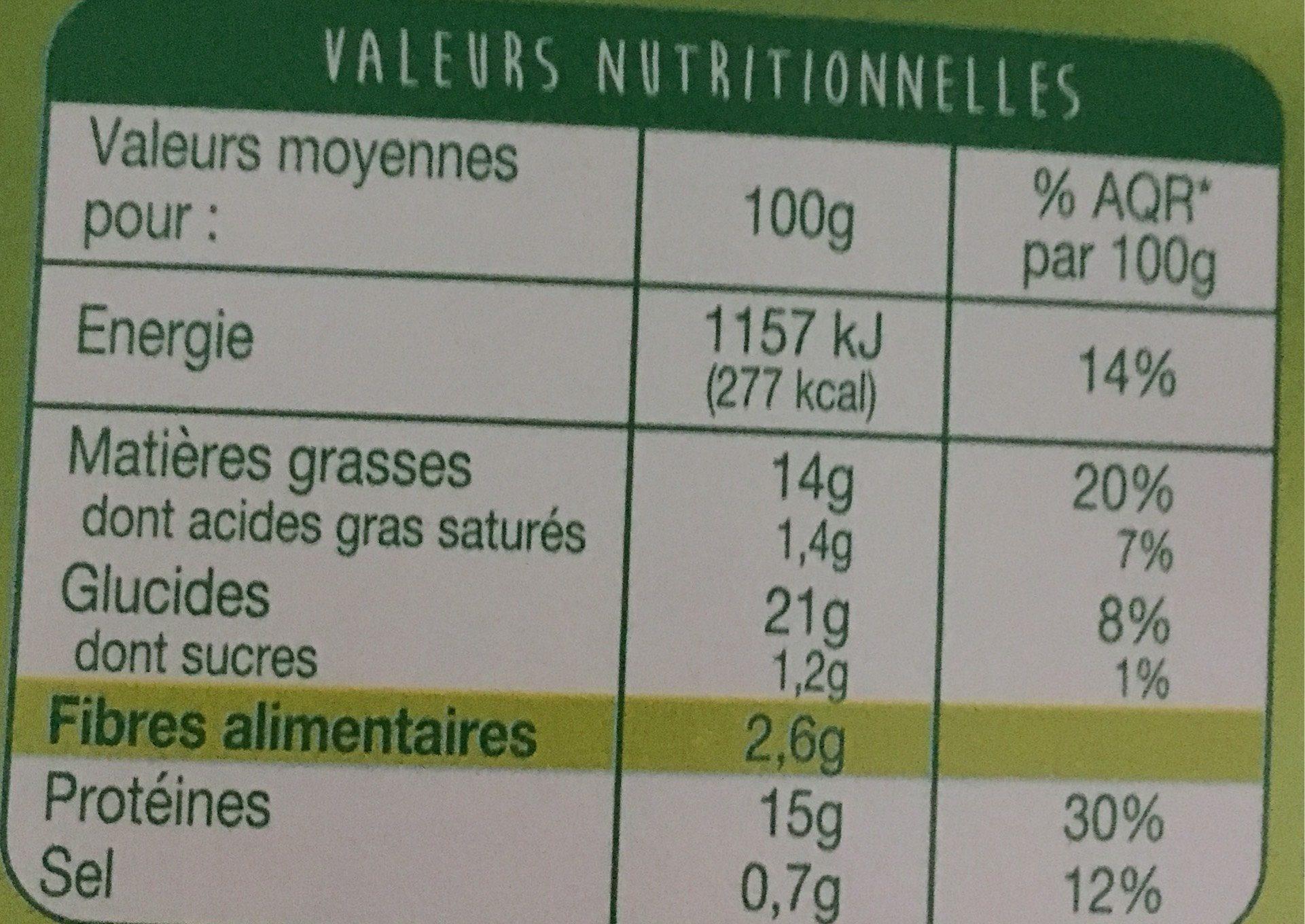 Nuggets Blé Oignons - Informations nutritionnelles