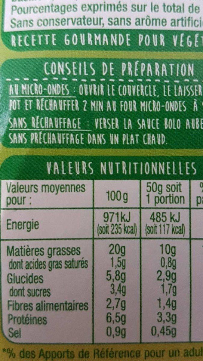 Bolo' D'aubergines Grillées - Voedingswaarden - fr