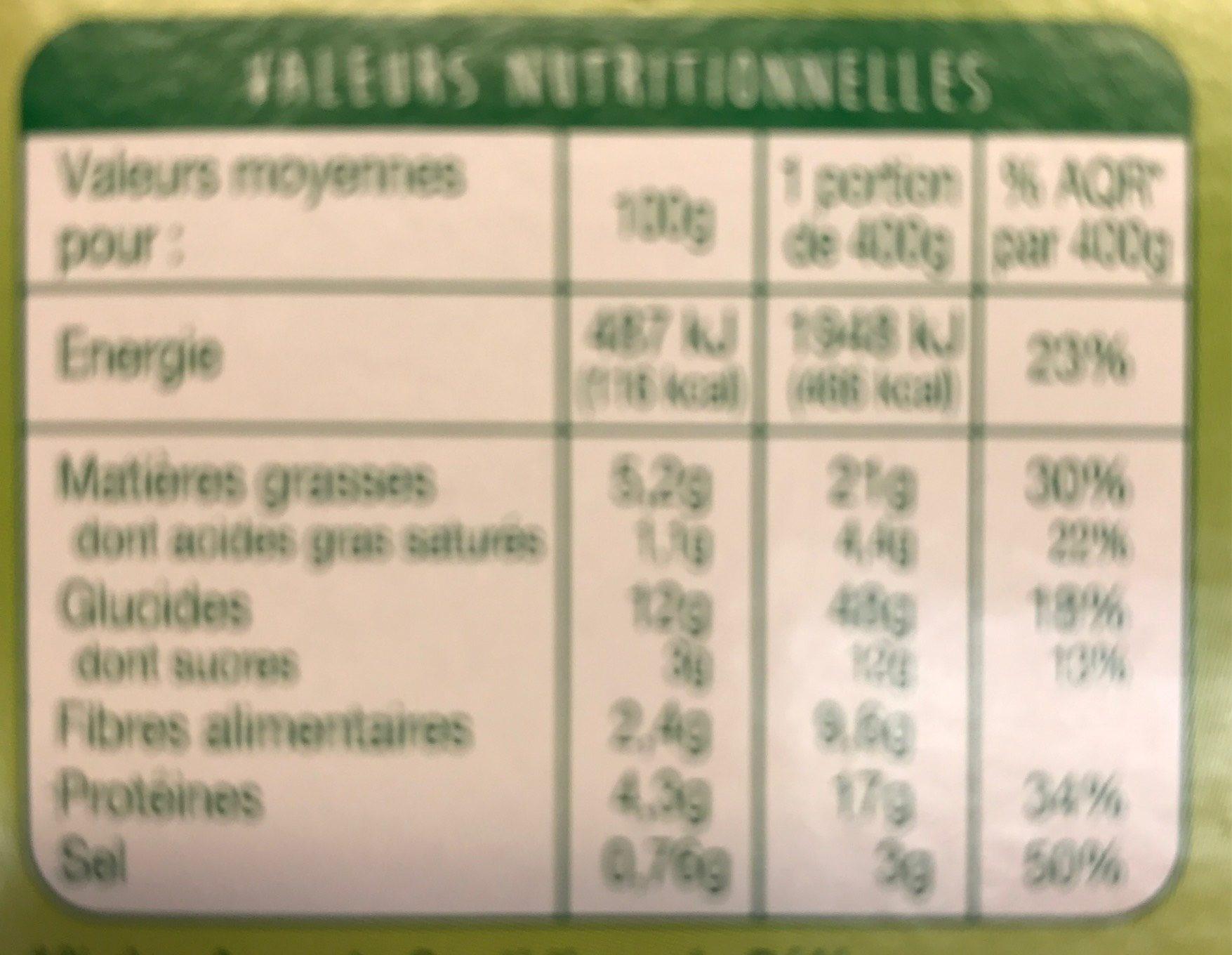 Lasagne Légumes, Tofu - Voedingswaarden - fr