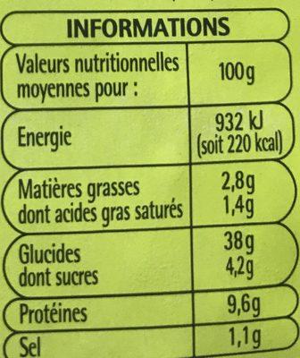 Pizza au jambon - Nutrition facts - fr