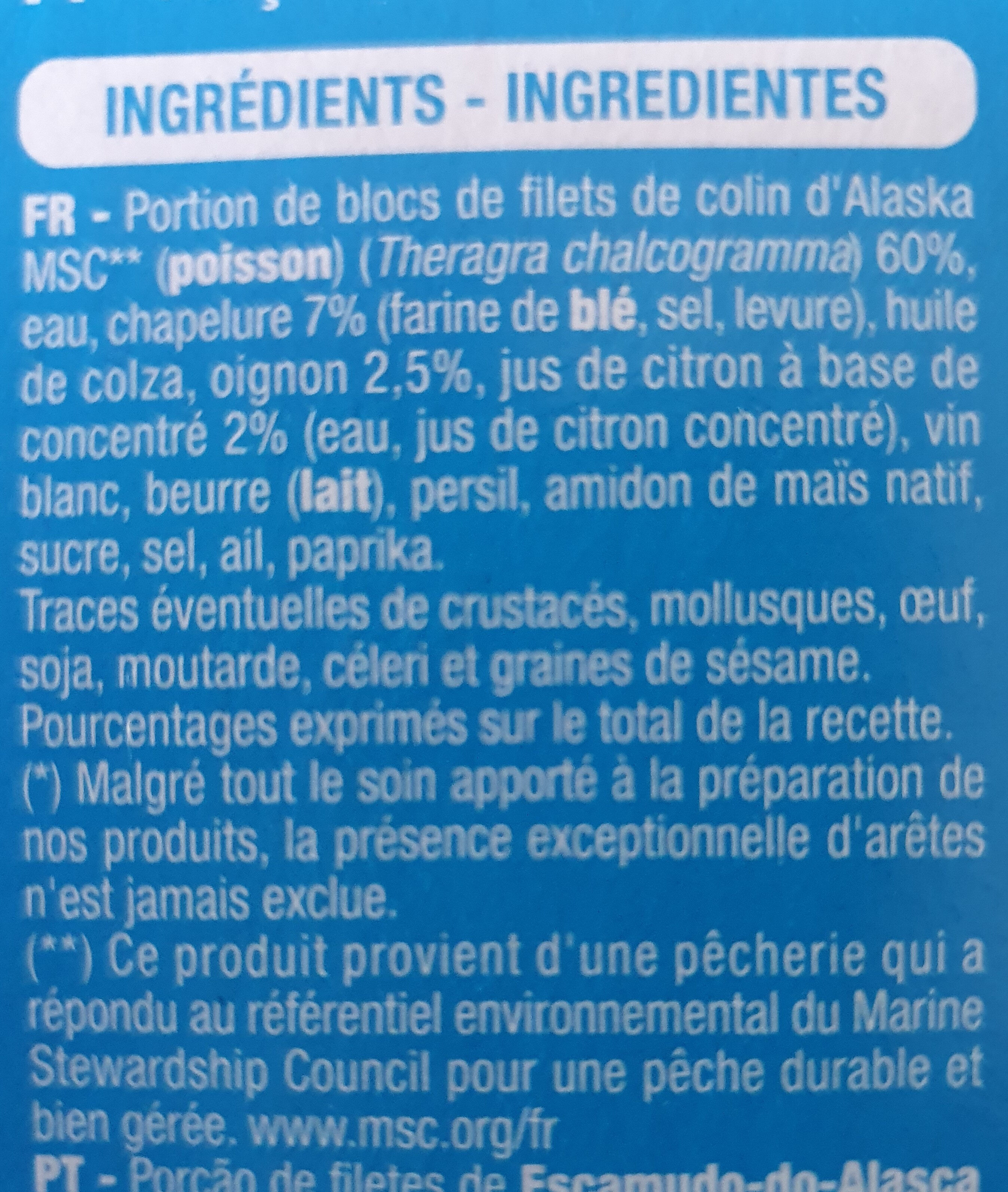 Poisson à la Bordelaise - Ingrediënten - fr