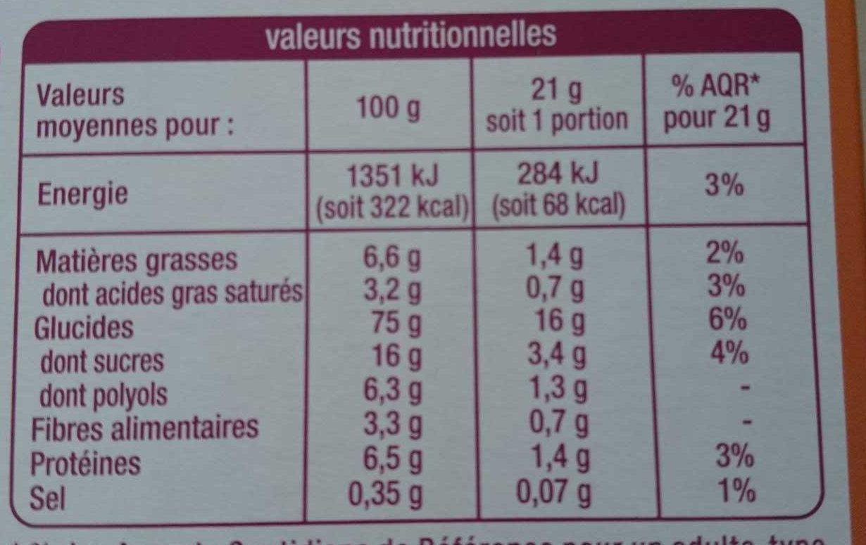 Barres Déliform Chocolat Caramel - Voedingswaarden - fr