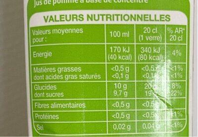 Jus de pomme pouce - Informations nutritionnelles - fr