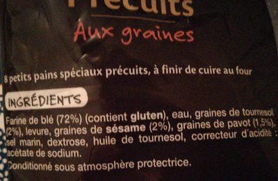 Petits Pains précuits aux graines - Ingrediënten - fr