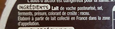 Livarot AOP - Inhaltsstoffe - fr