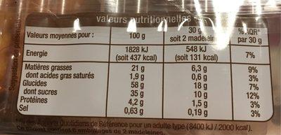 Madeleine fourée fraise - Voedingswaarden - fr