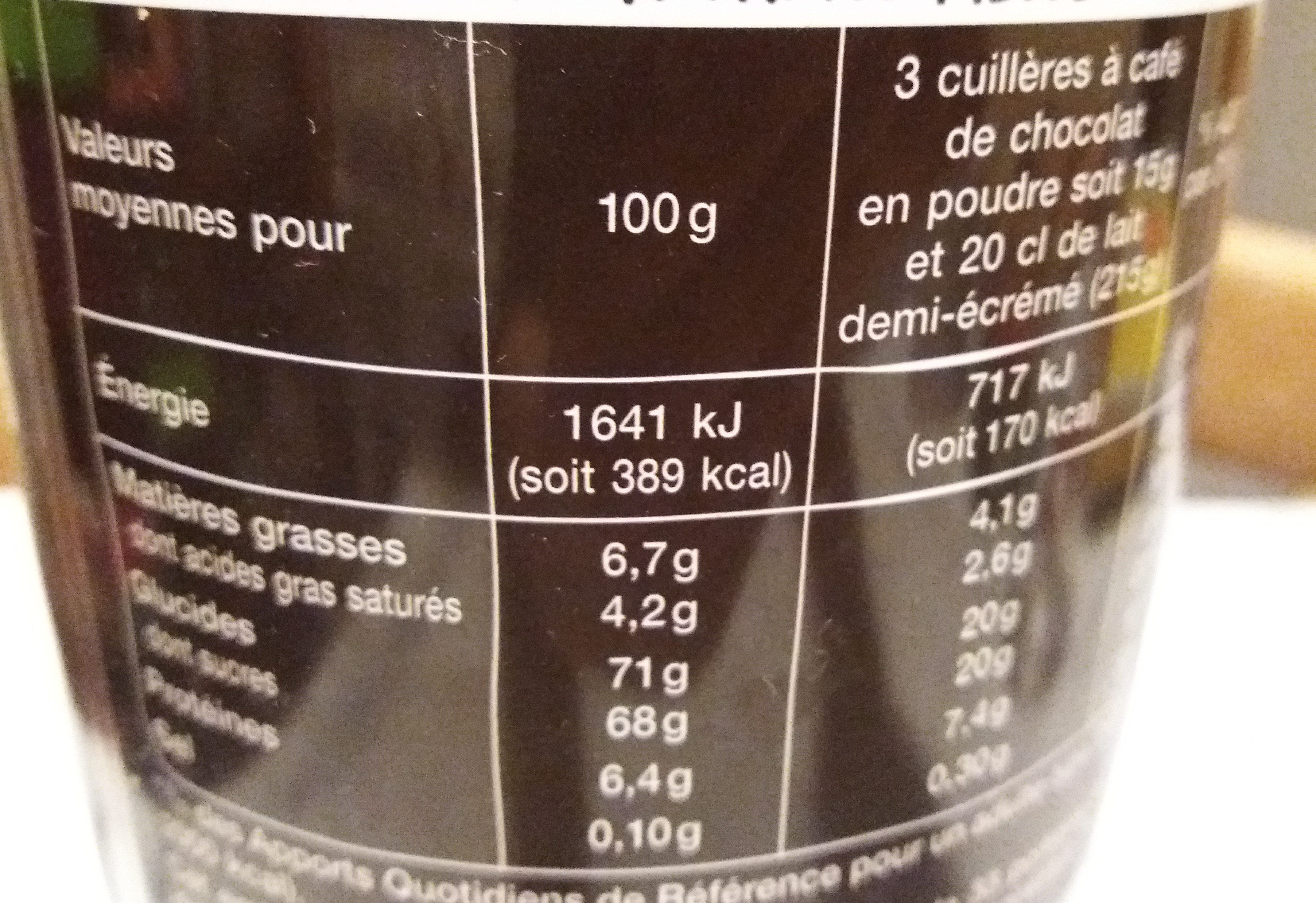 Chocolat gourmand mmm! - Informations nutritionnelles