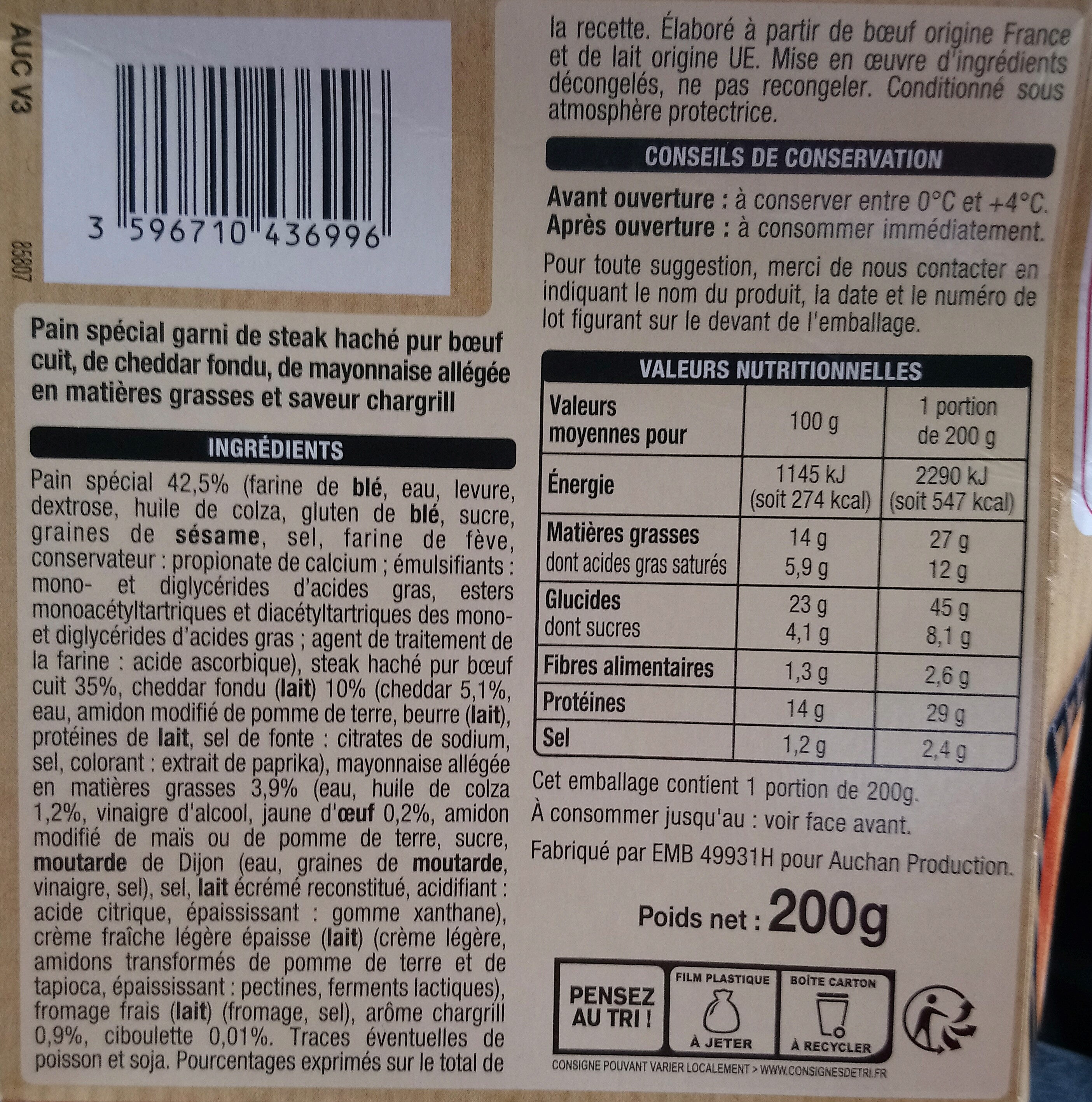 Chargrill Burger - Nutrition facts