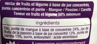 Jus mangue carotte passion - Ingredients