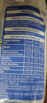 Eau de coco - Valori nutrizionali - fr