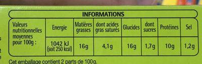 2 Cordons bleus de poulet - Informations nutritionnelles