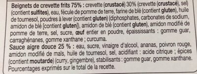 Beignets de crevette sauce aigre douce - Ingredients