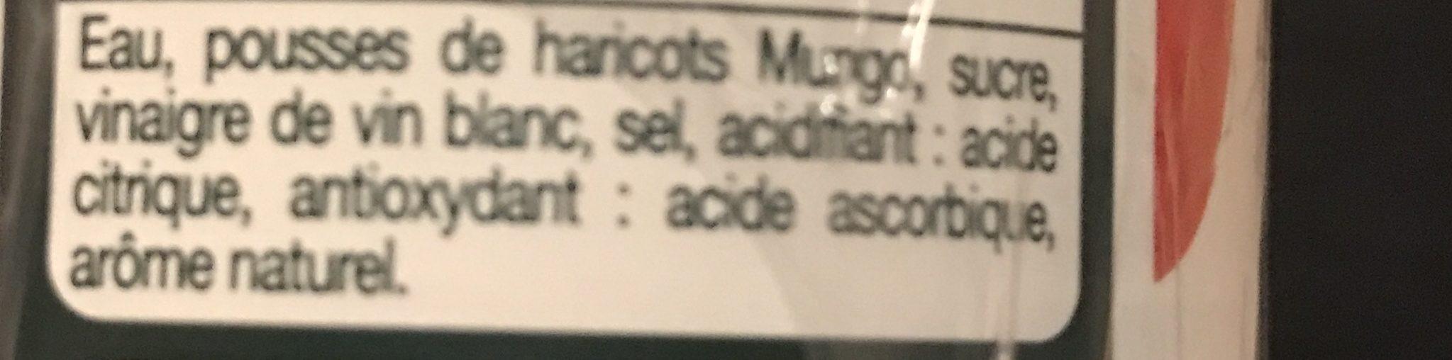 Pousses de haricots mungo - Ingrédients