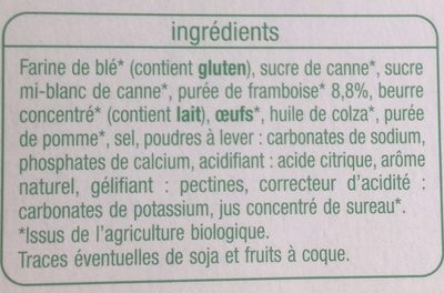 Tartelettes framboise bio - Ingrédients - fr