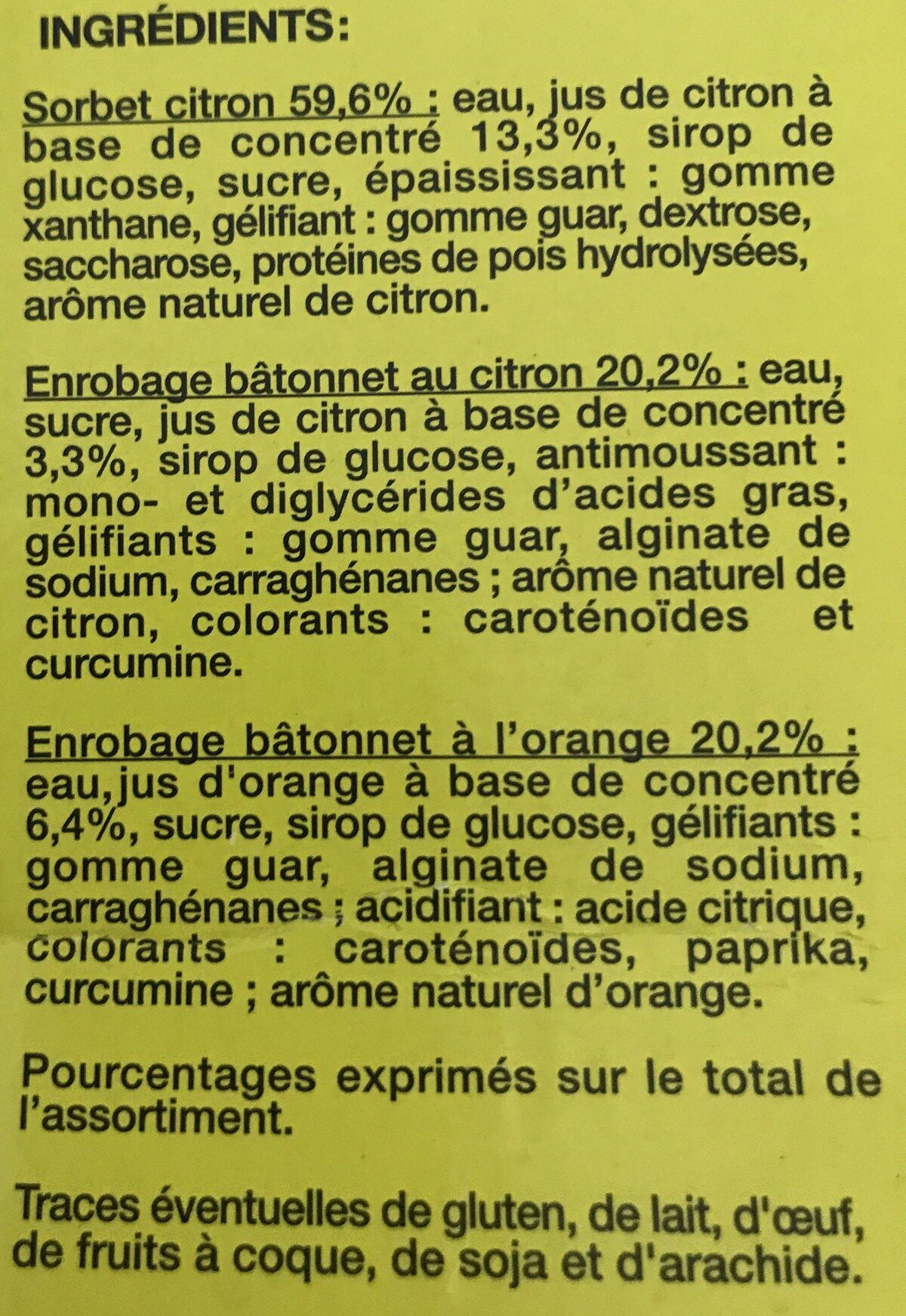 16 bâtonnets citron/orange - Ingredients - fr