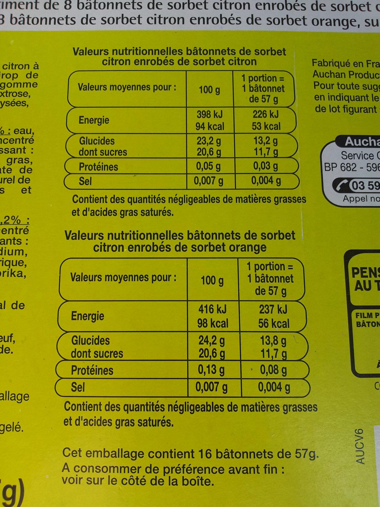 16 bâtonnets citron/orange - Nutrition facts - fr