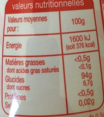 Sucralose en poudre - Informations nutritionnelles - fr