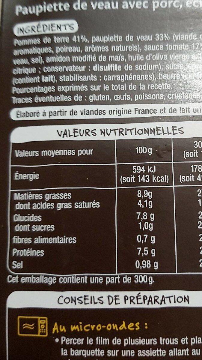 Paupiette de veau et son écrasé de pomme de terre - Informations nutritionnelles - fr