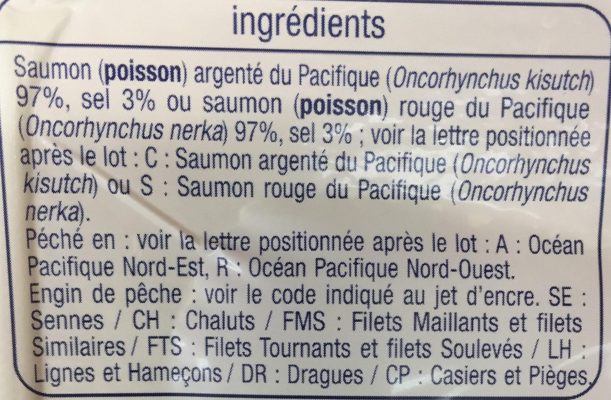 Saumon Sauvage du Pacifique Fumé au Bois de Hêtre - Ingredients - fr
