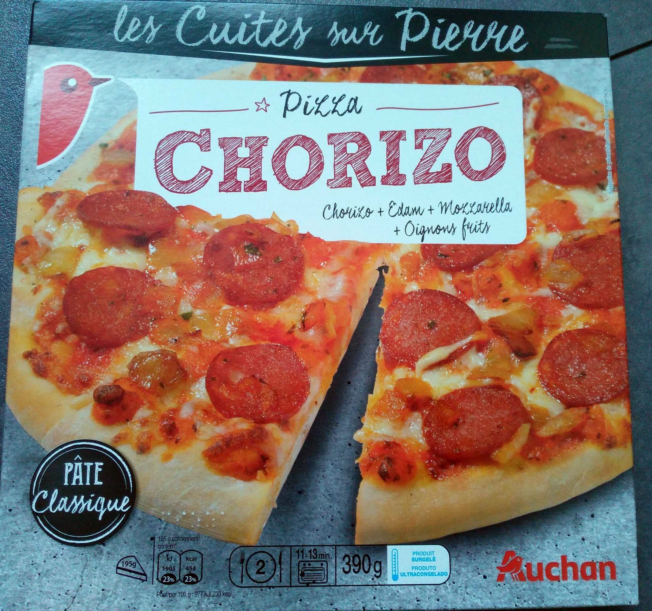 pizza chorizo les cuites sur pierre auchan 390g. Black Bedroom Furniture Sets. Home Design Ideas