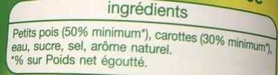 Petits pois carottes à l'étuvée, extra fins - Ingrédients - fr