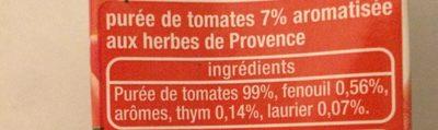Purée de tomates herbes de Provence - Ingrediënten - fr