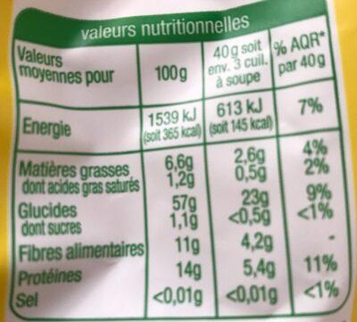 Flocon d'avoine - Informations nutritionnelles