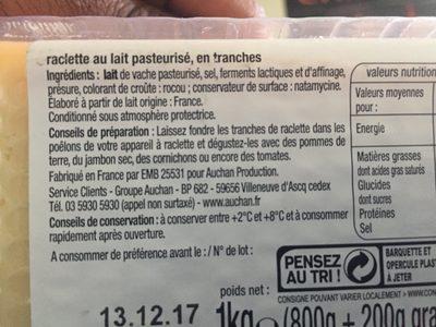 Raclette nature +25% gratuit - Ingrediënten
