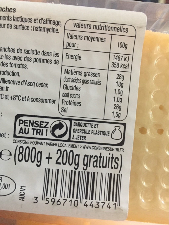 Raclette nature +25% gratuit - Voedingswaarden