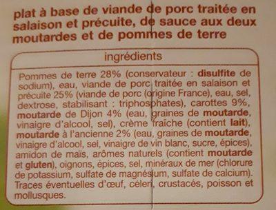 Porc à la dijonnaise aux deux moutardes - Ingrédients - fr