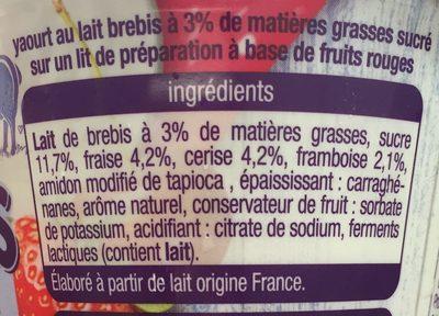 Yaourt de brebis sur lit de fruits rouges - Ingrédients