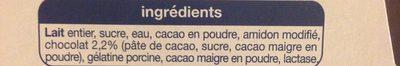 Crème dessert chocolat sans lactose - Ingrédients